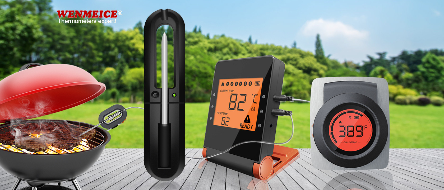 Free APP Bluetooth Bbq Thermometer For Grilling Oven Kitchen Smoker
